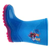 Kids Girls Disney Frozen Wellington Boots Rubber Rain Snow Blue Pink Glitter Wellies Wellys Childrens Shoes Size UK 5 - 12