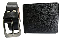 Combo Gift Set Of Leather Black Belt & Levis Wallet For Men