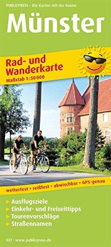 Münster: Rad- und Wanderkarte mit Ausflugszielen, Einkehr- & Freizeittipps, Straßennamen, wetterfest, reissfest, abwischbar, GPS-genau. 1:50000 (Rad- und Wanderkarte / RuWK)