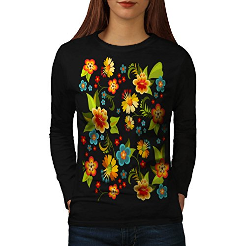 flower-power-garden-yard-life-fun-women-new-black-xl-long-sleeve-t-shirt-wellcoda