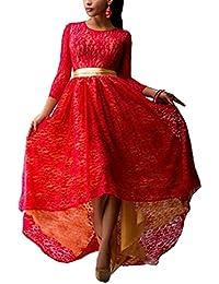 Donna Abiti Da Sera Lunghi Vintage Elegante Vestito Pizzo Cute Chic Manica  3 4 Rossi Collo High Waist Linea Ad A… d0329b5adb0