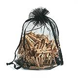 WEE 100 x Kleine Holzklammern in Geschenkbeutel, Bastelmaterial, Dekowäscheklammern, Geschenkanhänger, Fotohalter