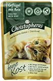 Christopherus Alleinfutter für Katzen, Nassfutter, Sterilisierte Katze, Geflügel mit Reis, 12 x 85 g Beutel