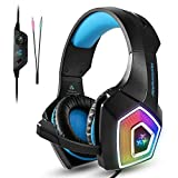 TENSWALL PS4 Gaming Headset, Hunterspider Series, LED Light Wired PC Gaming Headphone with Mic, 3.5mm Heasdset Jack Over-Ear Headset (Blue)