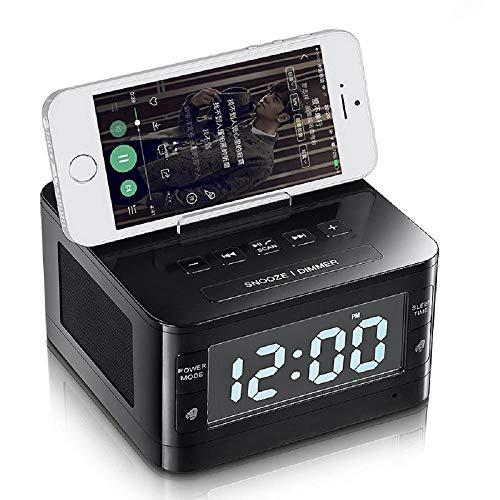 HLL Multifunktions-Wecker-Ladestation/Telefon-Ladegerät mit Dual-Port-USB für iPhone/iPad/iPod/Android-Telefon und Tablets, Schwarz (Wecker, Ipod-ladegerät)