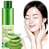 Hidratante facial de aloe vera de Bioqua para cuidado natural y esencial de la cara – tónico refrescante e hidratante para control de aceite, blanqueamiento, nutrición, reducción de poros