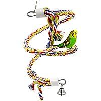 Vögel Spielzeug, Rusee Parrot climbing Rope Sling, Schaukel Spielzeug, Spirale Stehen-seil, Mittlere Regenbogen Cotton Rope Parrot mit Glocke