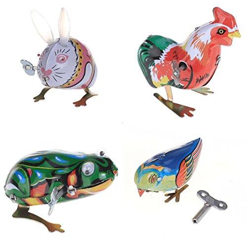 Jouet Mécanique Ancien Métal Lapin Poussin Grenouille Oiseau Collection Cadeaux pour Enfants