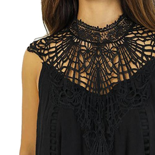 Transer ® Fashion femmes creusent sans manches soirée Party Mini robe lâche Noir