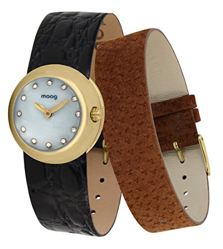 Moog Paris Zoom Women's Watch with White Mother of Pearl Dial, Gold Genuine Leather Strap & Swarovski Elements - M45382-404