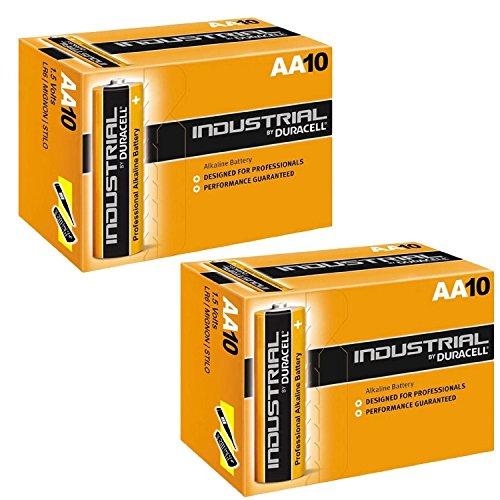 Duracell INDUSTRIAL Battery Alkaline 1.5V AA Ref MN1500 Pack 10, 20, 30, 40, 50 !! (Lot de 20)