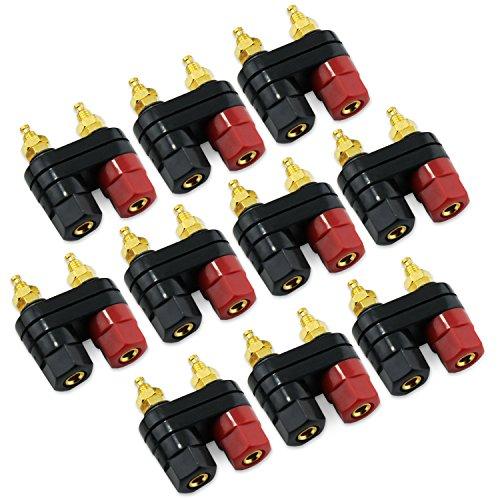 KEESIN 10 Paare Schwarzes und rotes Klemmen-verbindlicher Pfosten-Leistungsverstärker Doppeltes 2-Weg Bananenstecker-Jack