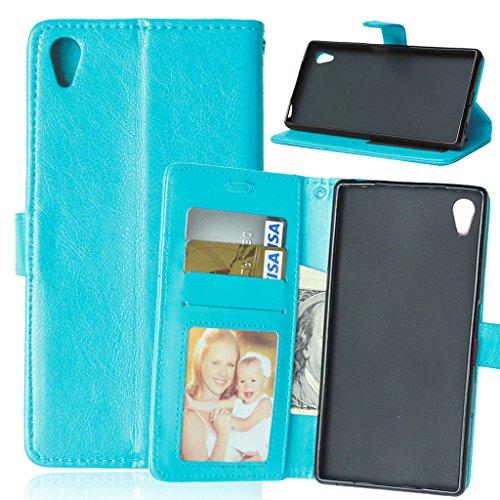 FUBAODA Xperia Z5 Hülle, [Kostenlos Syncwire Ladekabel][Photo View] PU Flip Leder Schmale Ständer Brieftasche mit ID / Bargeld / Karten Aussparrung für Sony Xperia Z5 (E6003 E6633 E6653 E6683) (blau)