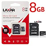 LaXar Ultra 8GB Micro SD TF Memory Card Class 10 with Micro SD to SD Adapter High Performance SD Card - Full HD & 4K Photos & Video Storage