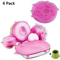 SengVan - Juego de 6 tapas elásticas de silicona para almacenamiento de alimentos con tapón de botella rosa