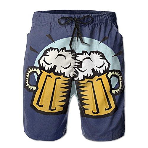 khgkhgfkgfk Cool Beer Cheers Mens Summer Breathable Swim Trunks Beach Board Cargo Shorts Large Mid Cut Uniform