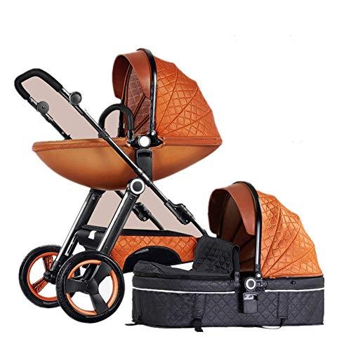 Standard-Kinderwagen Zwei-Wege-Mode-Kinderwagen 2 in 1 Baby Kinderwagen Neugeborene Kinderwagen Kleinkinder Stubenwagen Falten liegend, 43,3 x 28,3 x 19,6 Zoll (Farbe : Orange)