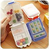 ShoppoWorld Medicine Tablet Pill Box Organizer, 8 Compartment - Multi Color