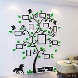 JWQT Kreatives Foto Baum 3D Kristall Stereo Wand Aufkleber Acryl Wohnzimmer Sofa Schlafzimmer warme Dekoration Aufkleber, tiefes grünes Blatt der schwarzen Niederlassung,