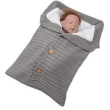 Mitlfuny Aire Libre Saco de Dormir para Bebé Niños Invierno Grueso Terciopelo Swaddle Wrap Botón Manto
