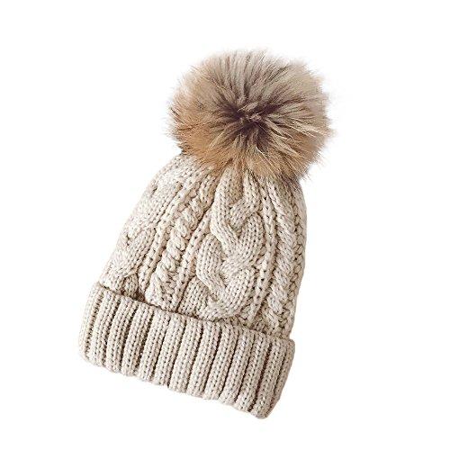 YWLINK Damen Winter HäKeln Hut Wolle Stricken MüTze WaschbäR Warme MüTze BommelmüTze Mit Fellbommel(Freie Größe,Beige)