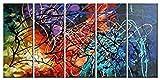 wieco Art-Modern 5-teilig 100% handbemalt gespannt und gerahmt Colorful Herz Ölgemälde Abstrakte Malerei auf Leinwand Wandbild fertig zum Aufhängen für Wohnzimmer Schlafzimmer Home Office Dekorationen