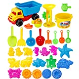 Seciie Sandspielzeug, 31er Set Kinder Sandkasten-Set mit Großem Strandwagen, Gießkanne und Diverse Förmchen für Mädchen und Jungen
