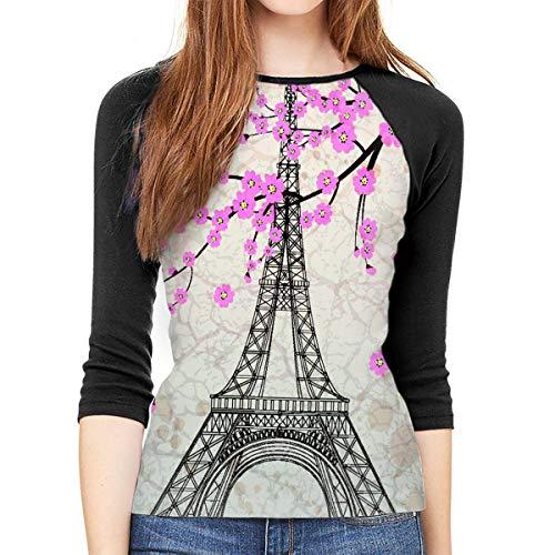 Henrnt Damen Bluse 3/4 Arm T-Shirt Bluse Top Vintage Eiffel Tower Print T-Shirt Casual Crew Neck Tops Tee