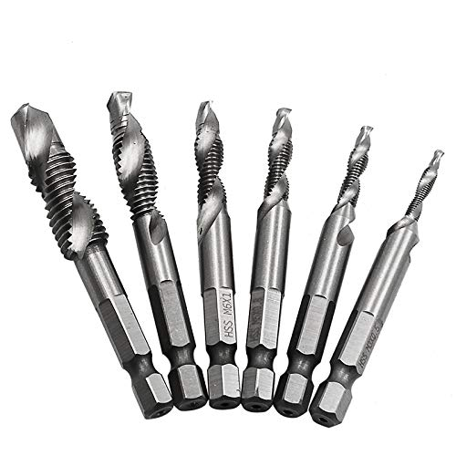 Electomania Set of 6PCS Hex Shank HSS Quick-Change Combined Tap Screw Drill Bit M3/4/5/6/8/10
