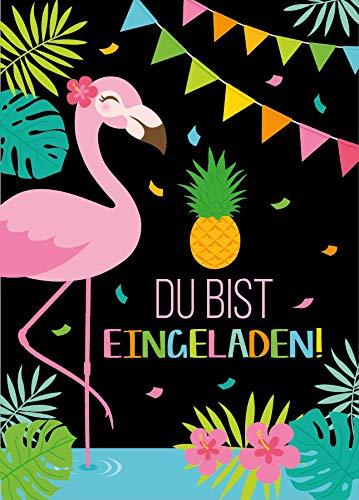 Junaversum 12 Einladungskarten zum Kindergeburtstag Mädchen Flamingo Einladungen Geburtstag Kinder