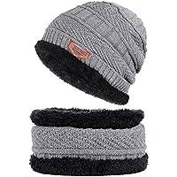 BLACK ELL Gorros de algodón de Punto para otoño e Invierno de los Hombres cálidos y cómodos, además de Terciopelo THI, 4
