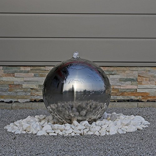 floristikvergleich.de Edelstahl Springbrunnen ESB4 poliert Kugelspringbrunnen mit LED Beleuchtung Brunnen für den Garten