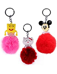 Baal Set Of 3Pcs Pom Pom Key Chains For Bags Key Chain And Bag Accessory, Multicolor, 20 Grams, Pack Of 1