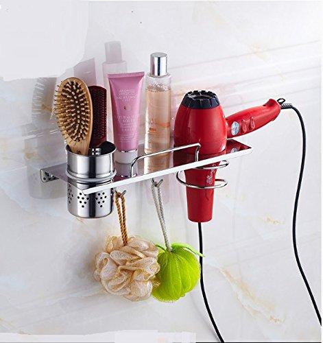 Porte-Sèche-Cheveux,Porte-séchoir, Wall mount cheveux sèche-linge-salle de bain Inox salle de bain porte-séchoir Supports grille de séchage cheveux mural-A