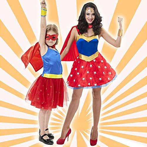 Sincere Party Disfraz de superhéroe para Mujer con Capa de satén, puños de...