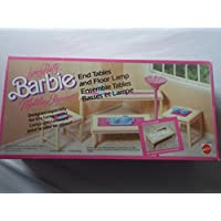 Barbie Living Pretty Dolls Furniture - End Tables And Floor Lamp By Mattel Made in Italy in1987