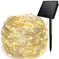 Warm White Solar String Lights, 100 LEDs Copper Wire Fairy Lighting Starry Waterproof Solar String Light for Outdoor Indoor Patio Garden Christmas