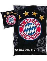 """'Parure de lit FC Bayern """"Logo Noir 135x 200cm 80x 80cm"""