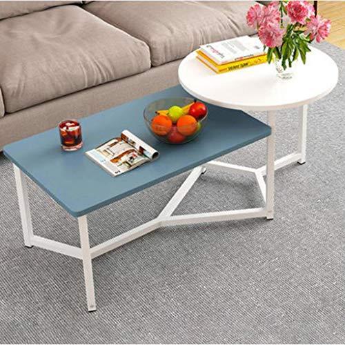M-JH Table d'appoint, Table Basse latérale de Table d'appoint en Bois avec Rangement, Salon de café, Ronde, 122 * 60 * 50 cm (Couleur : D)