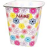 alles-meine GmbH Papierkorb / Behälter -  Bunte Blumen & Blüten  - inkl. Name - 7,5 Liter - 4..