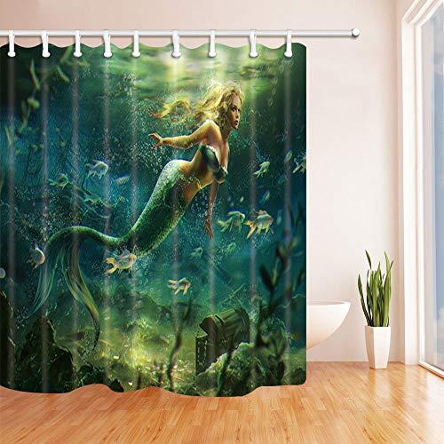 EdCott Schöne Meerjungfrau Fische Dekor Mehltau resistent Polyester Stoff Duschvorhänge für Bad Duschvorhang Haken enthalten 71X71 in, Blond Grün