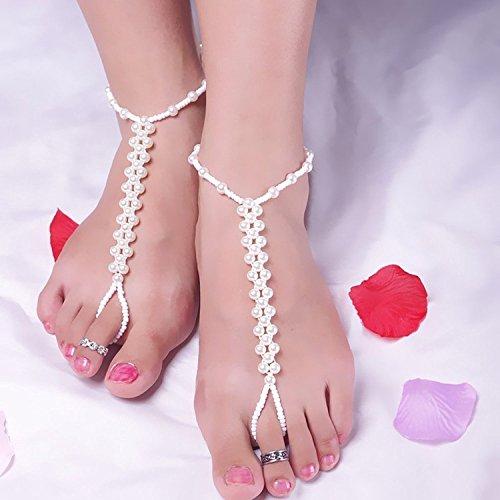 maltonyo17Faux Pearl Armband Fußkettchen für Barfuß Sandale Strand Bridal Hochzeit (weiß)
