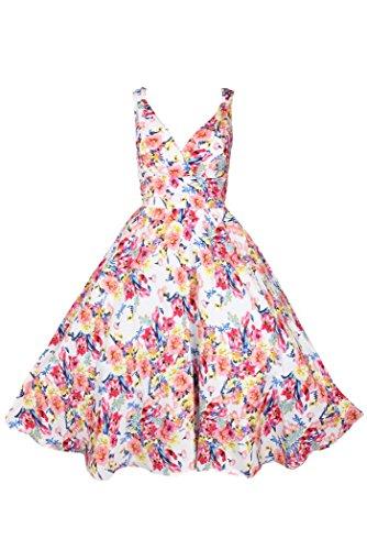 Kushi - robe de fête femmes annés 50s vintage fleurs taille grande 50 52 54 56 Blanc rose