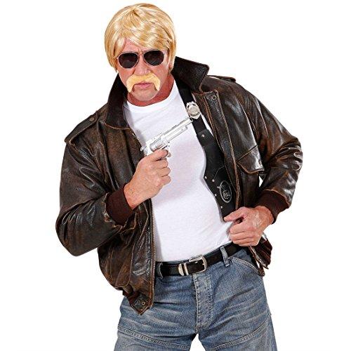 NET TOYS Agenten Set 70er 80er Jahre mit Perücke blond Brille Bart Agentenset Accessoires Fasching Karneval Herrenperücke Kostüm Set