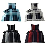 4piezas ropa de cama microfibra Seersucker, no precisa plancha con cremallera 155x 220cm con Gratis Falco Manopla, microfibra, Tim Anthrazit, 155 cm x 220 cm