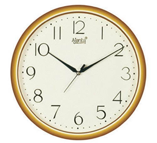 Ajanta Quartz Golden Ring Plastic Wall Clock-497 (28cm x 28cm, Ivory)