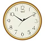 Ajanta Quartz Golden Ring Plastic Wall Clock (28Cm X 28Cm), Ivory