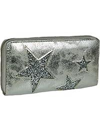 Mevina Damen Geldbörse Stern Leder Optik Metallic Glitzer Vintage Sterne Design großes Portemonnaie lang Reißverschlus