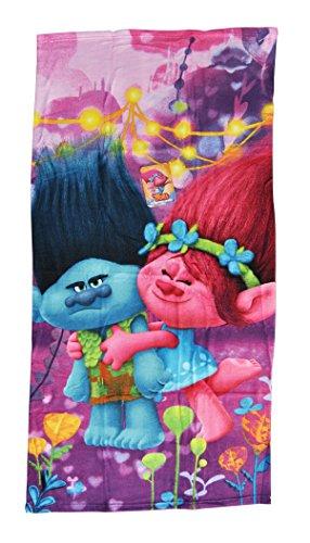 Trolls - Diseño Branch y Poppy toalla infantil de microfibra, 70x140 cm.