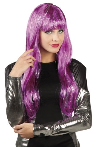 Violett lila Perücke Glamour glatt Pony mit silber Lamé Glitter Kostüm Karneval Fasching Verkleiden Verkleidung Damen Erwachsene 86295 (Lame Kostüme)